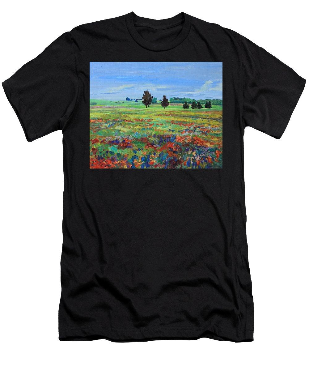 Painting Men's T-Shirt (Athletic Fit) featuring the painting Texas Landscape Bluebonnet Indian Paintbrush Explosion by Maris Salmins