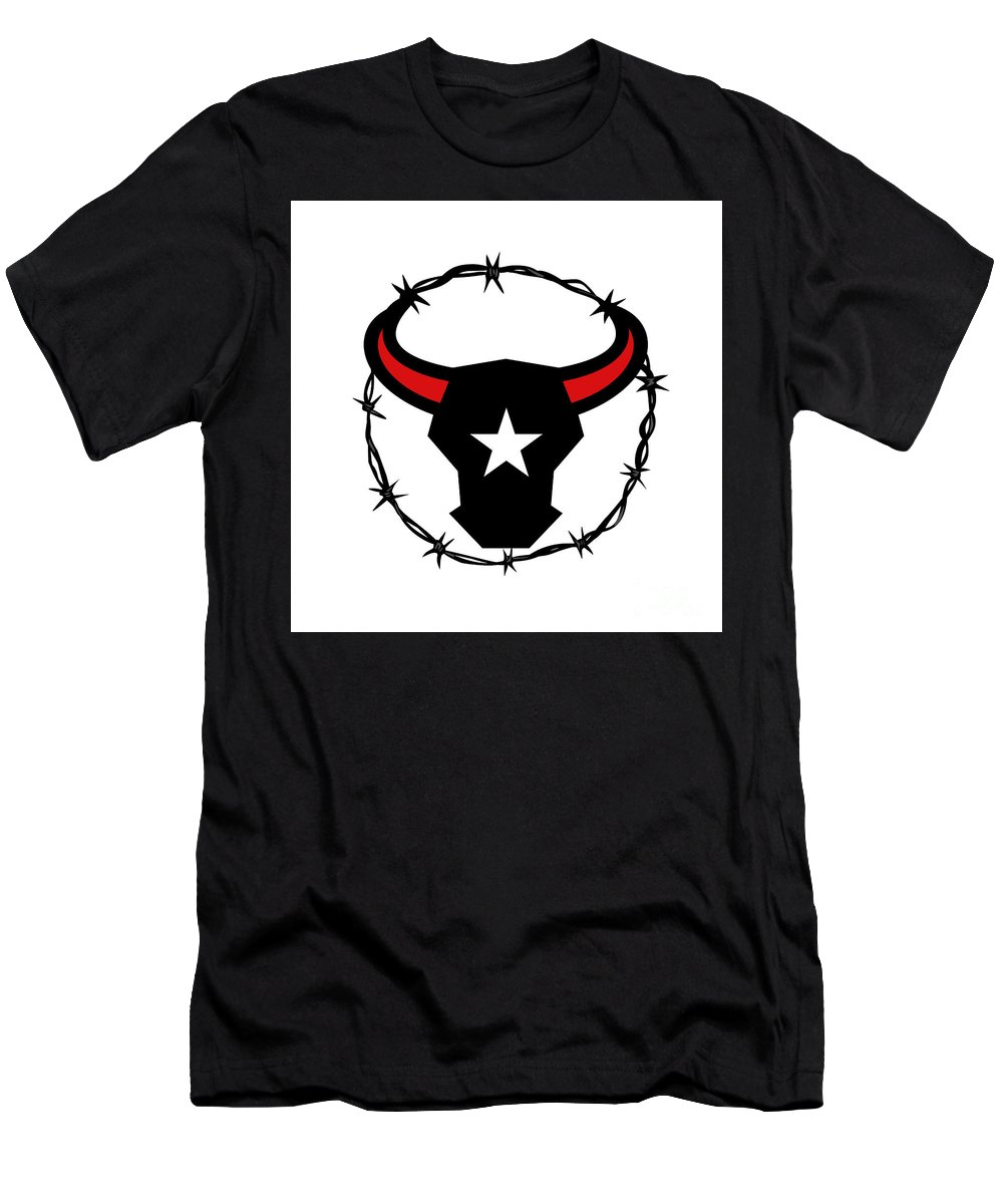 Icon Men's T-Shirt (Athletic Fit) featuring the digital art Texas Longhorn Barbed Wire Icon by Aloysius Patrimonio