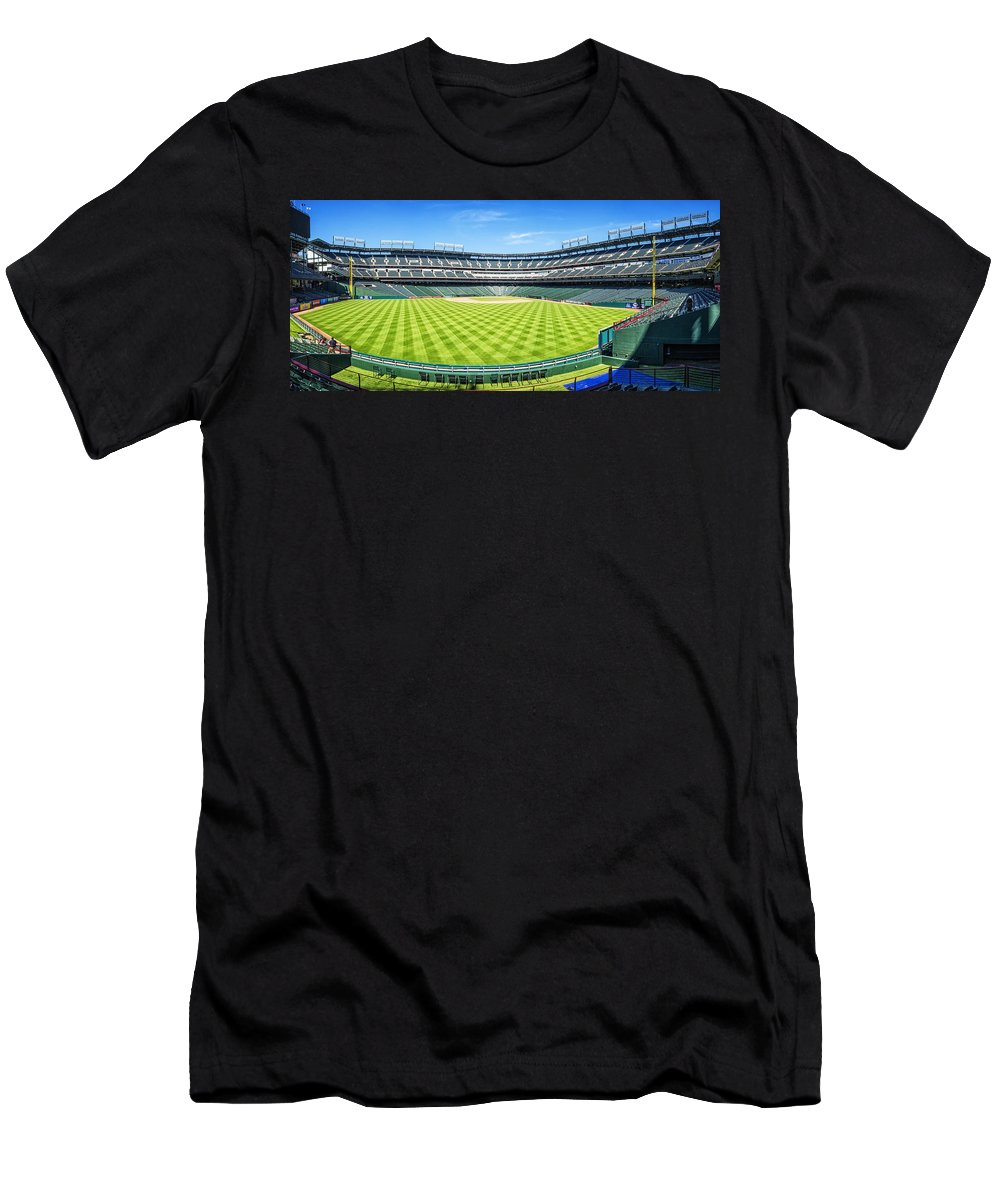Joan Carroll Men's T-Shirt (Athletic Fit) featuring the photograph Texas Rangers Ballpark Waiting For Action by Joan Carroll