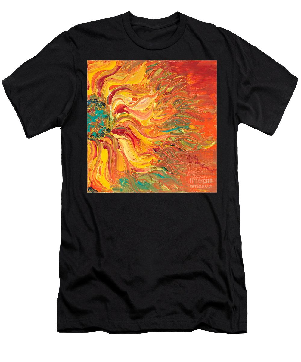 Sunjflower Men's T-Shirt (Athletic Fit) featuring the painting Textured Fire Sunflower by Nadine Rippelmeyer