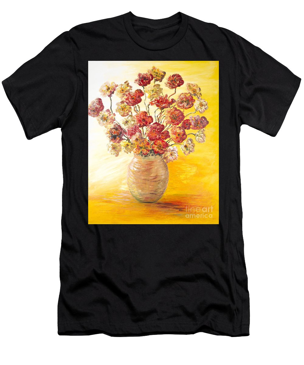 Flowers Men's T-Shirt (Athletic Fit) featuring the painting Textured Flowers In A Vase by Nadine Rippelmeyer