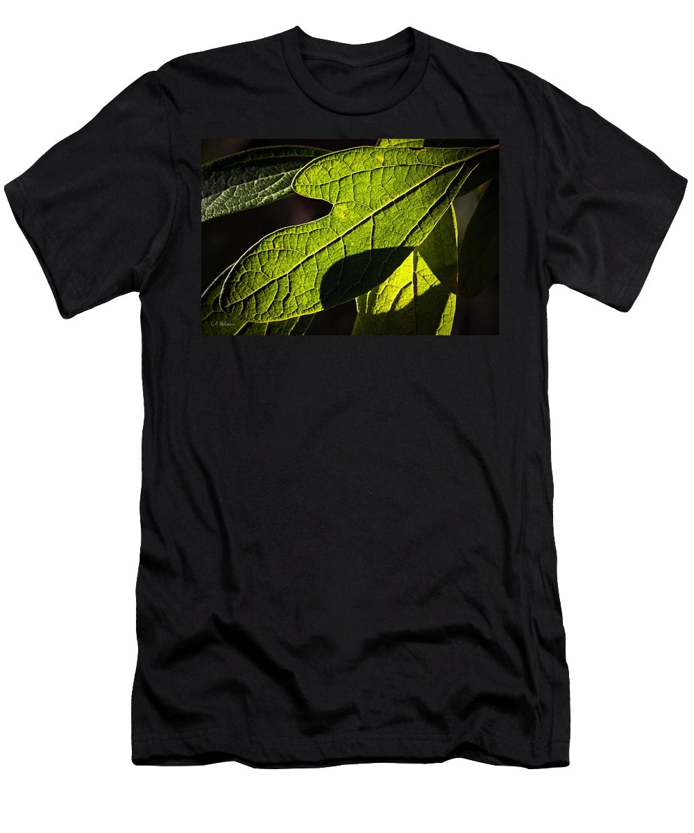 Leaf Men's T-Shirt (Athletic Fit) featuring the photograph Textured Glow by Christopher Holmes