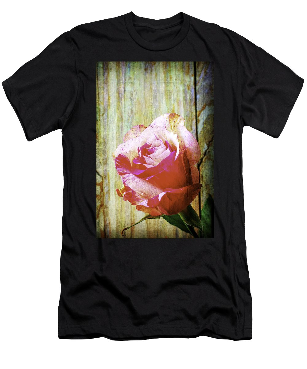 Rose Men's T-Shirt (Athletic Fit) featuring the photograph Textured Pink Red Rose by Garry Gay
