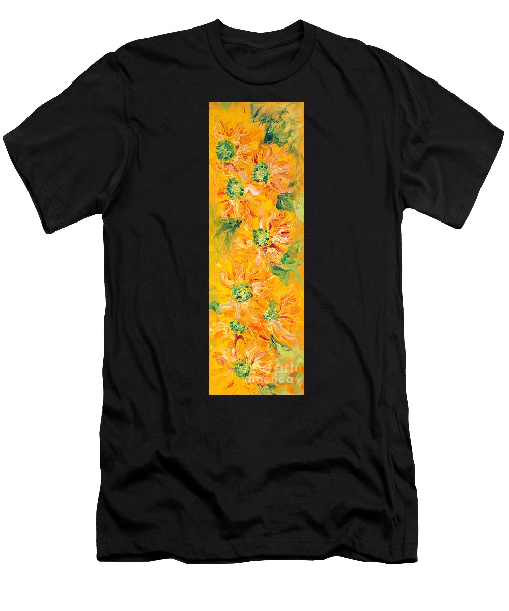 Yellow Men's T-Shirt (Athletic Fit) featuring the painting Textured Yellow Sunflowers by Nadine Rippelmeyer