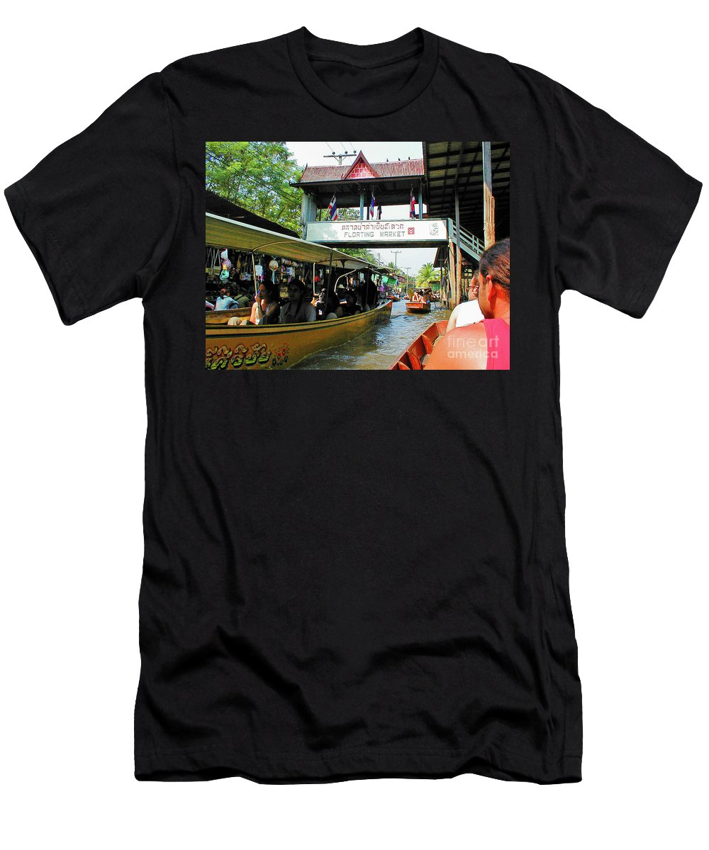 Thailand Men's T-Shirt (Athletic Fit) featuring the photograph Thailand Floating Market by Eunice Warfel