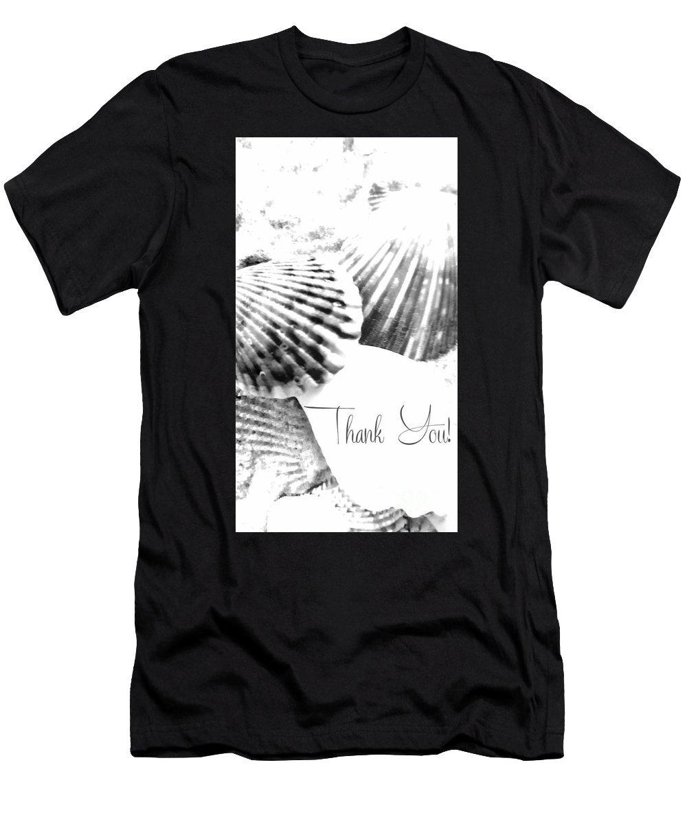 Greeting Men's T-Shirt (Athletic Fit) featuring the digital art Thank You Seashell by Rachel Hannah