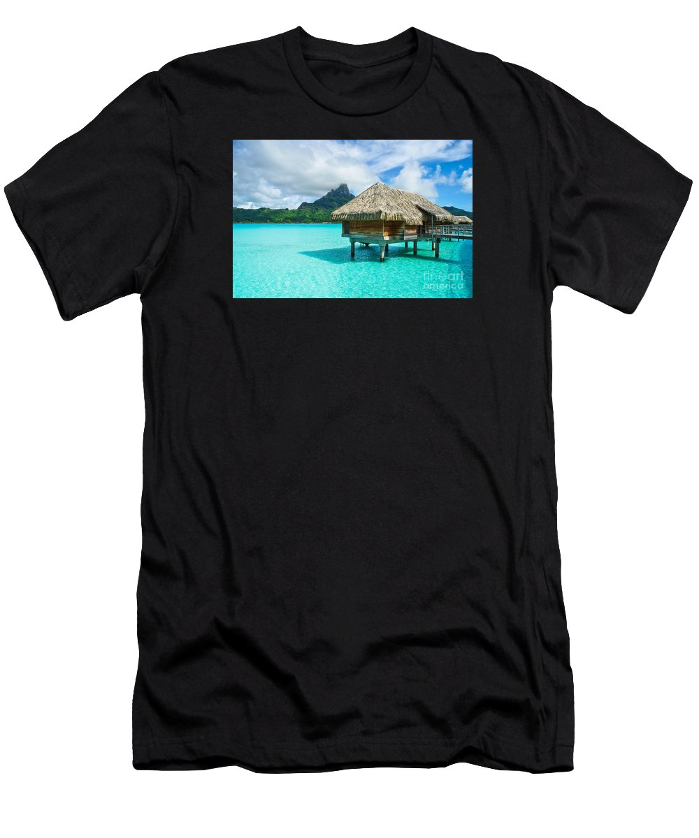 Resort Men's T-Shirt (Athletic Fit) featuring the photograph Thatched Roof Honeymoon Bungalow On Bora Bora by IPics Photography