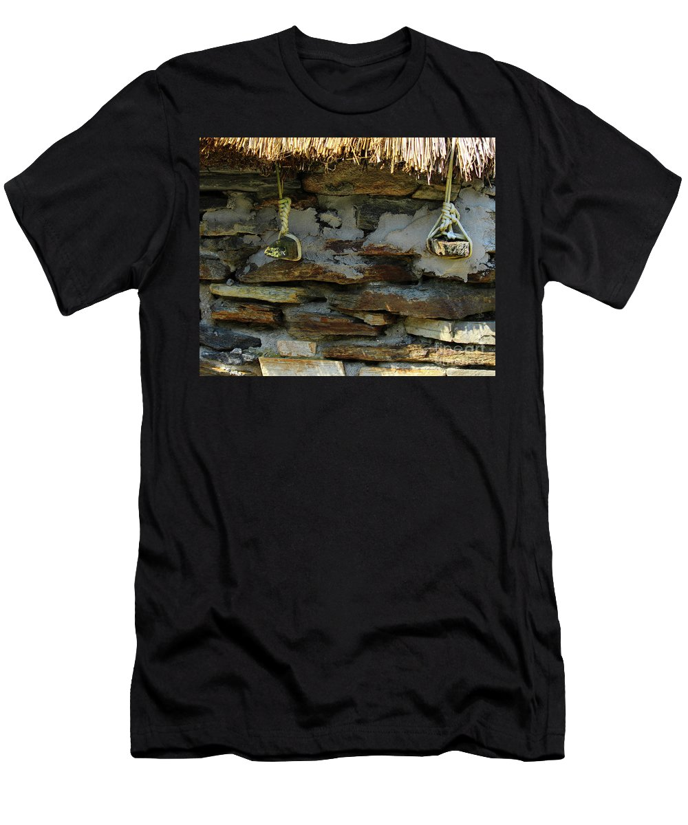 Thatched Men's T-Shirt (Athletic Fit) featuring the photograph Thatched Roof Ties by Eddie Barron