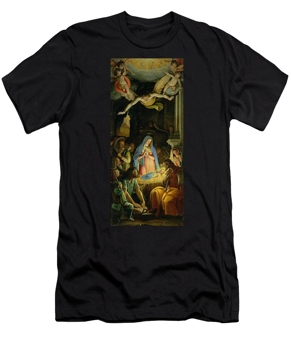 Christmas Men's T-Shirt (Athletic Fit) featuring the painting The Adoration Of The Shepherds by Federico Zuccaro