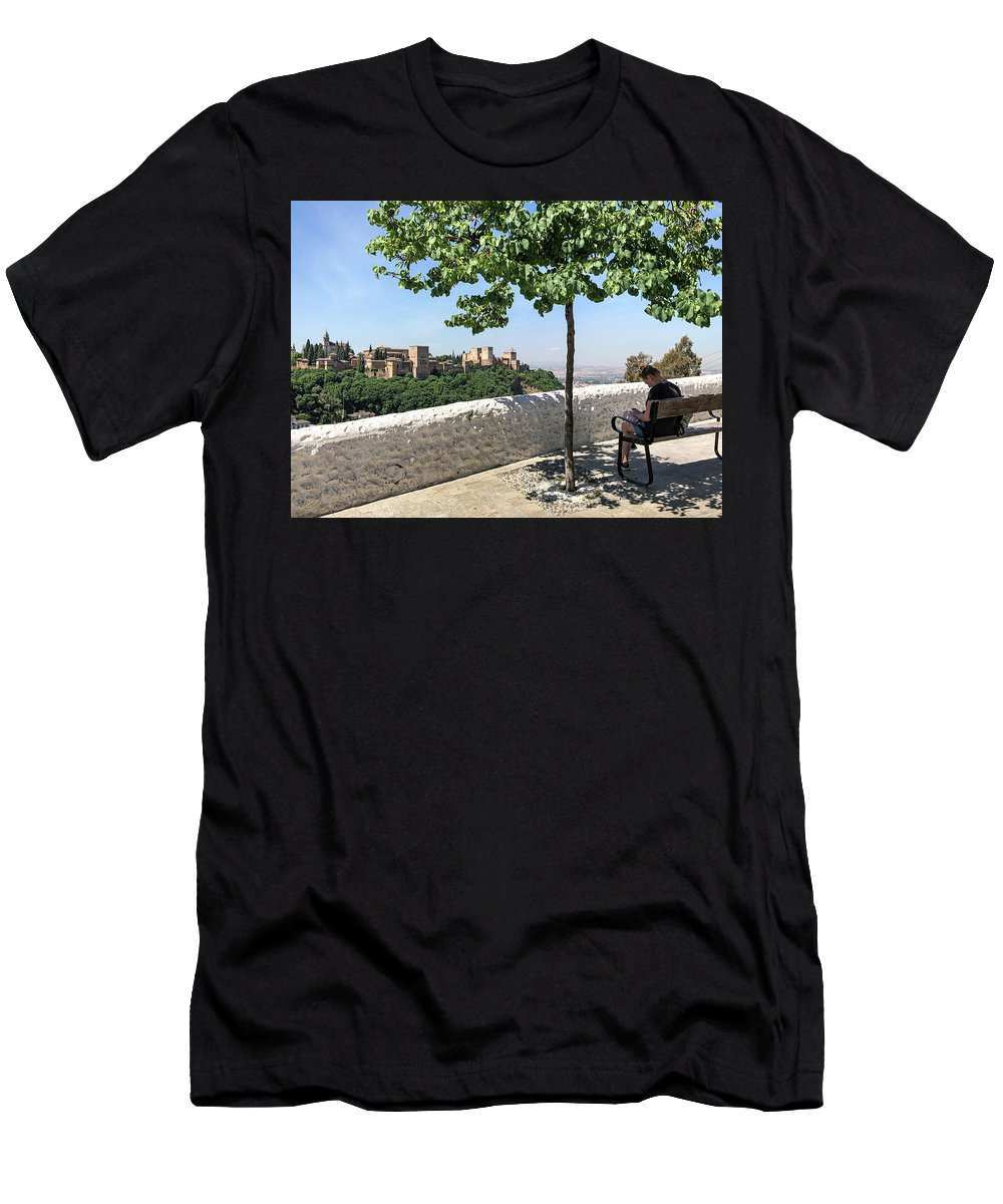 Alhambra Men's T-Shirt (Athletic Fit) featuring the photograph The Alhambra From Sacromonte by Digby Merry