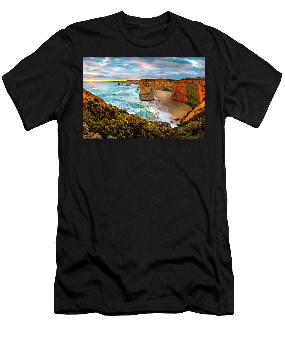 12 Apostles Men's T-Shirt (Athletic Fit) featuring the photograph The Apostles Sunset by Az Jackson