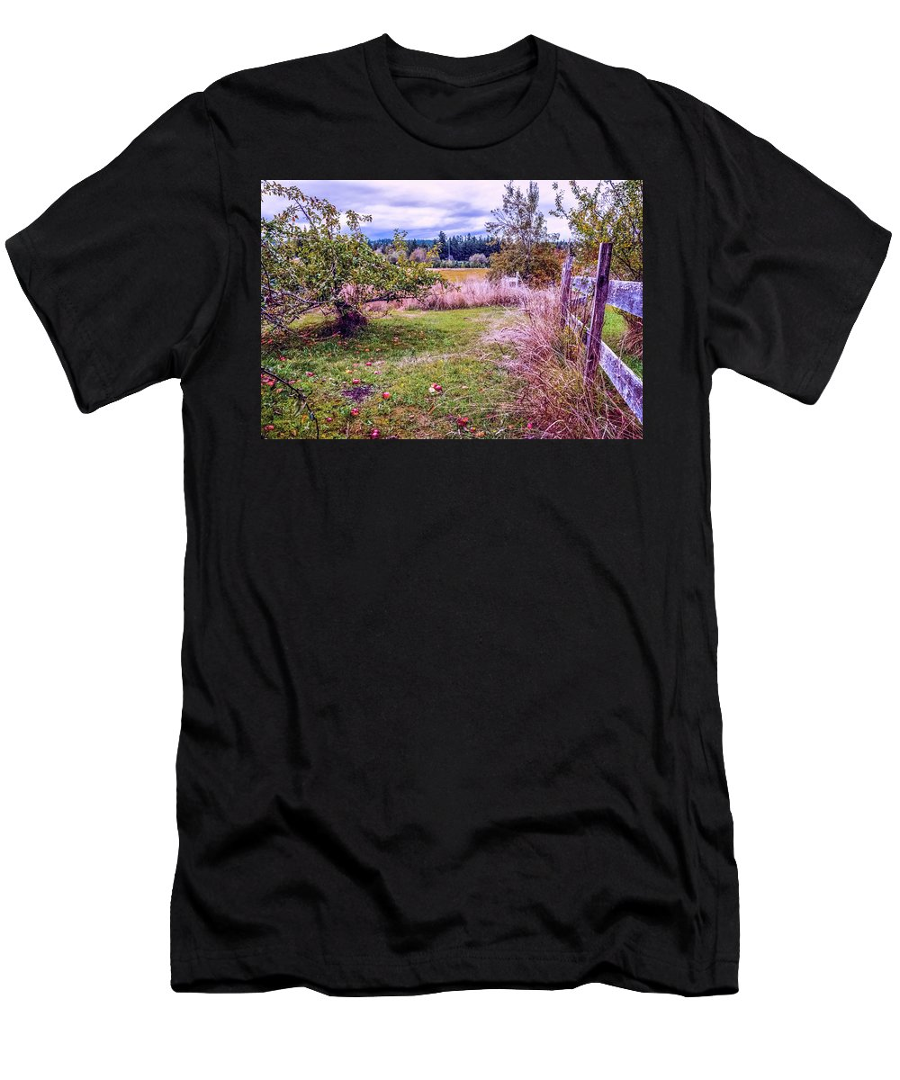Landscape Men's T-Shirt (Athletic Fit) featuring the photograph The Apple Never Falls Far From The Tree by Marci Potts