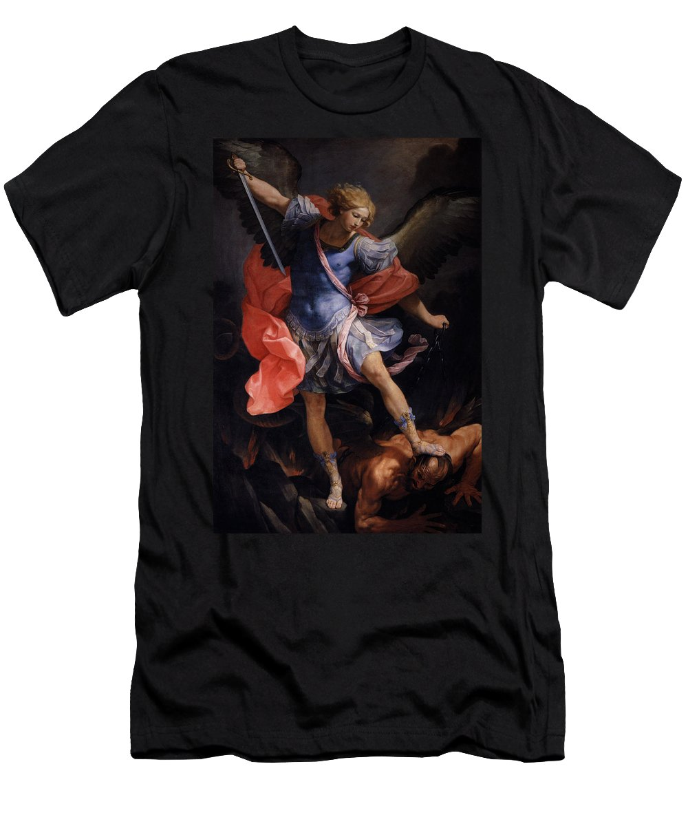 The Archangel Michael Defeating Satan - Guido Reni Men's T-Shirt (Athletic Fit) featuring the painting The Archangel Michael Defeating Satan by MotionAge Designs
