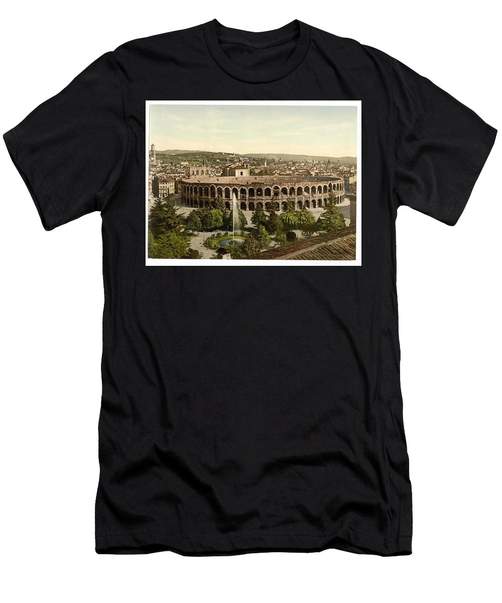 The Arena Men's T-Shirt (Athletic Fit) featuring the painting The Arena by MotionAge Designs