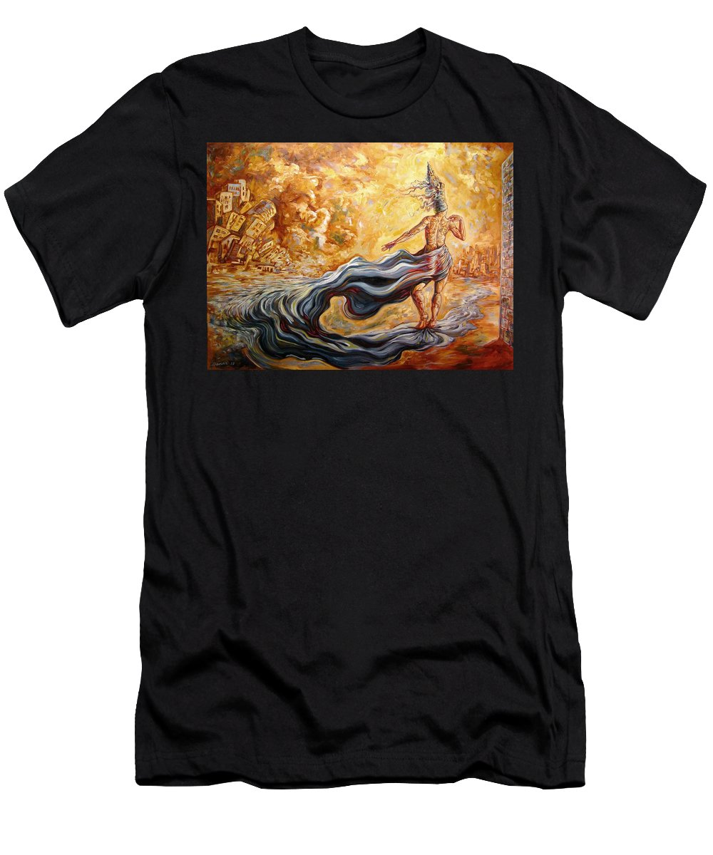 Surrealism Men's T-Shirt (Athletic Fit) featuring the painting The Arrival Of The Goddess Of Consciousness by Darwin Leon