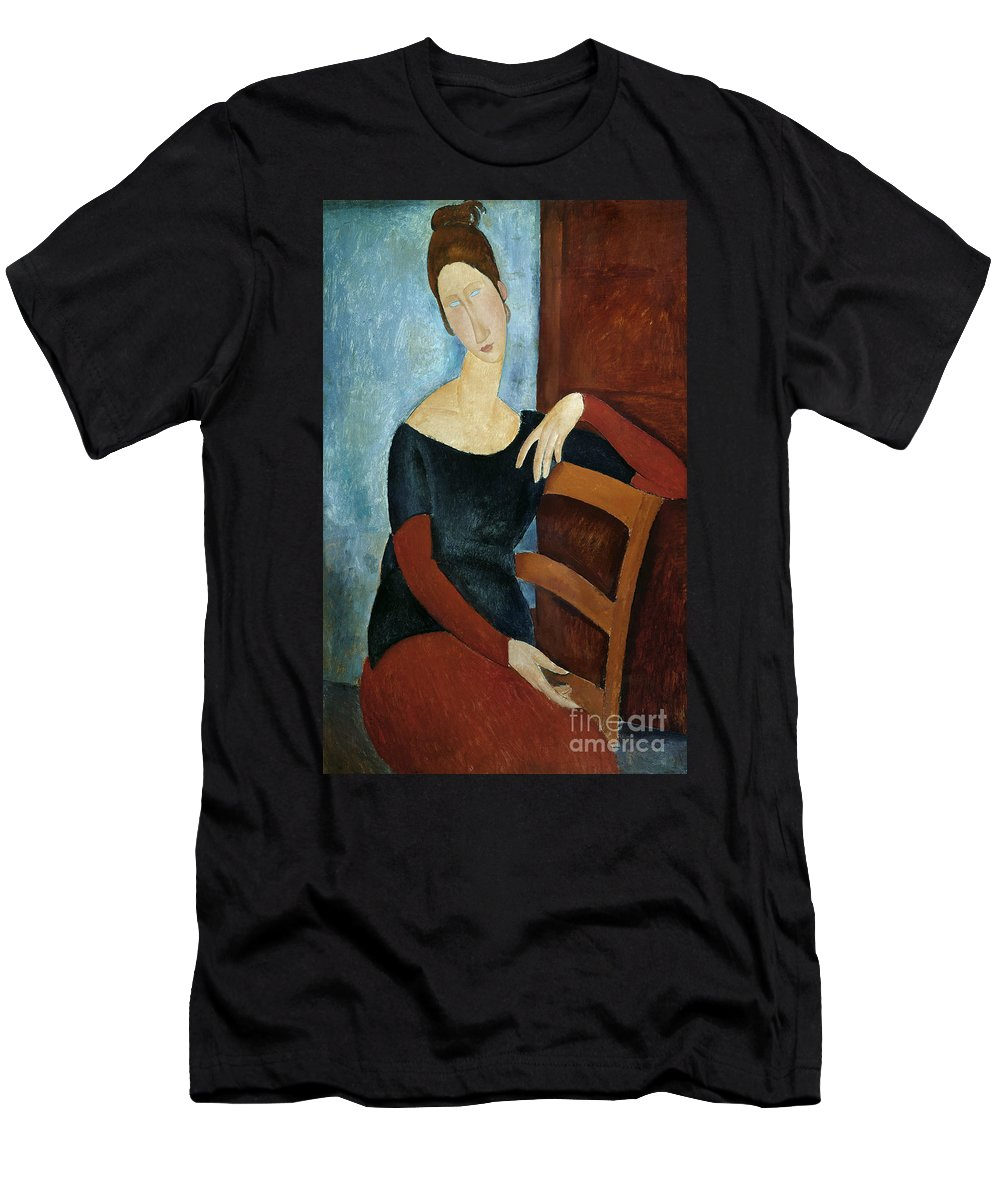The Men's T-Shirt (Athletic Fit) featuring the painting The Artist's Wife by Amedeo Modigliani