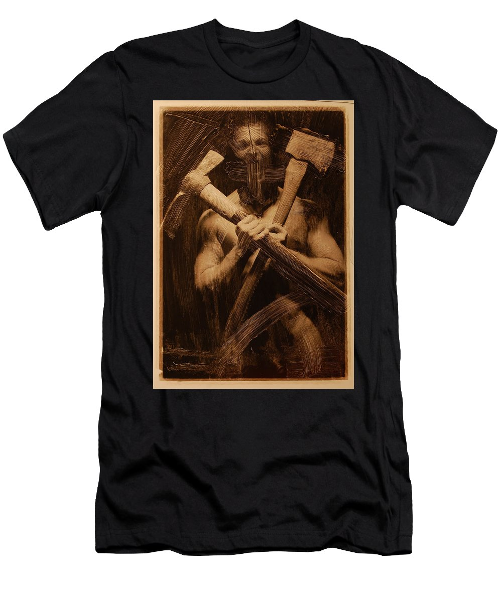 Photo Men's T-Shirt (Athletic Fit) featuring the photograph The Axe Man by Bruce R Fry