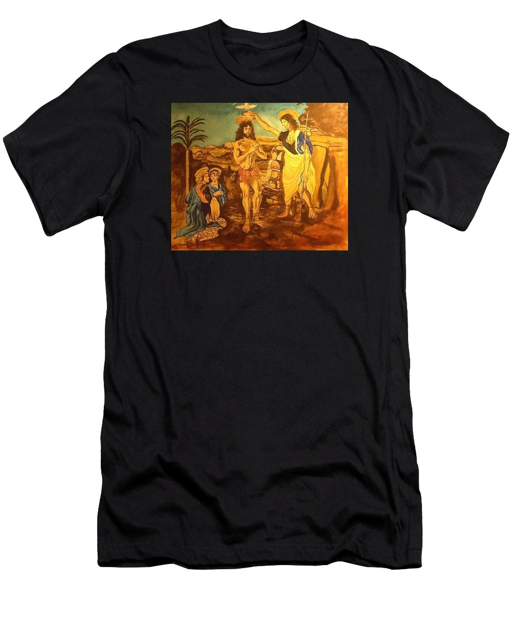 Men's T-Shirt (Athletic Fit) featuring the painting The Baptism by Miguel ituralde
