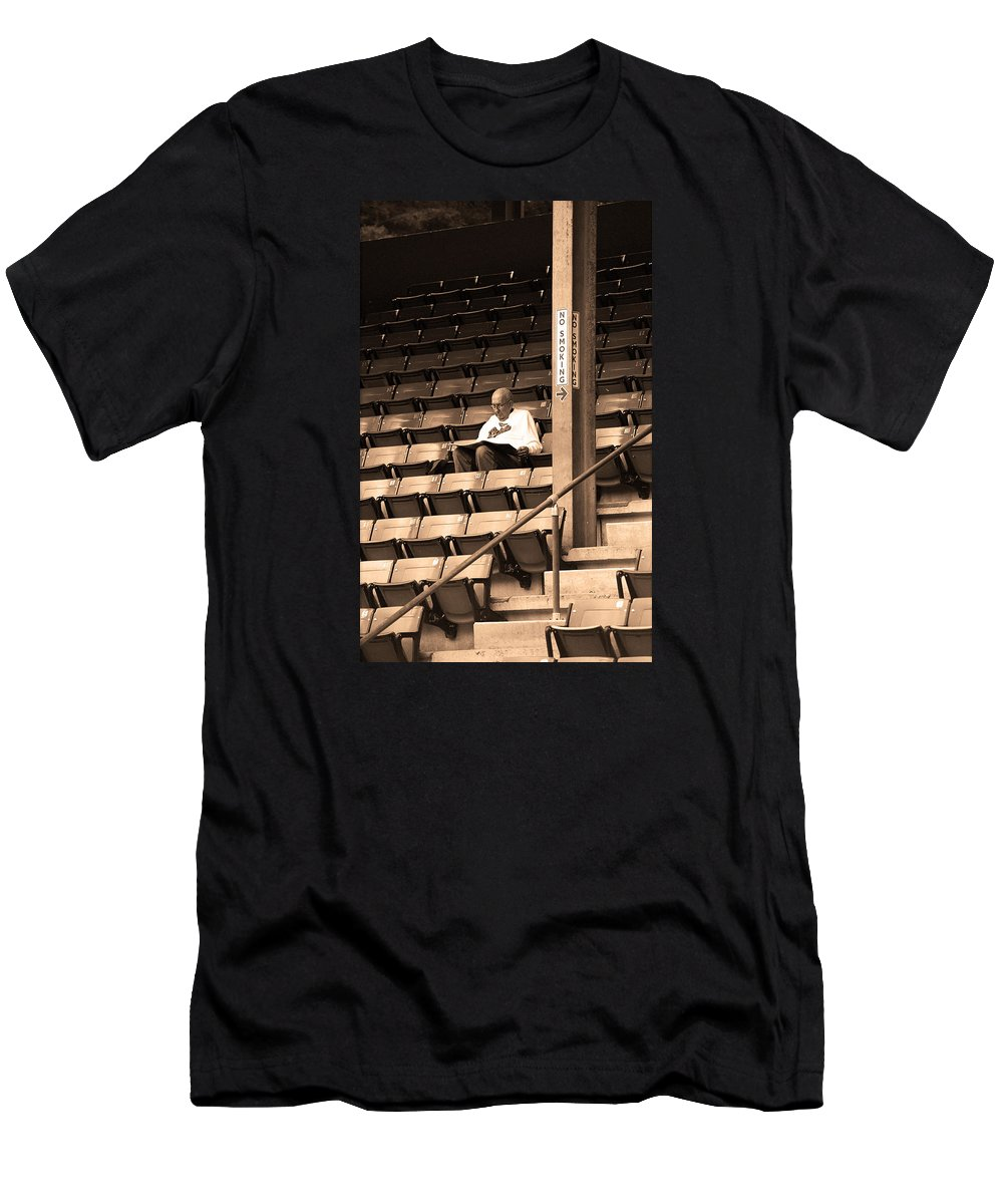 America Men's T-Shirt (Athletic Fit) featuring the photograph The Baseball Fan Sepia by Frank Romeo