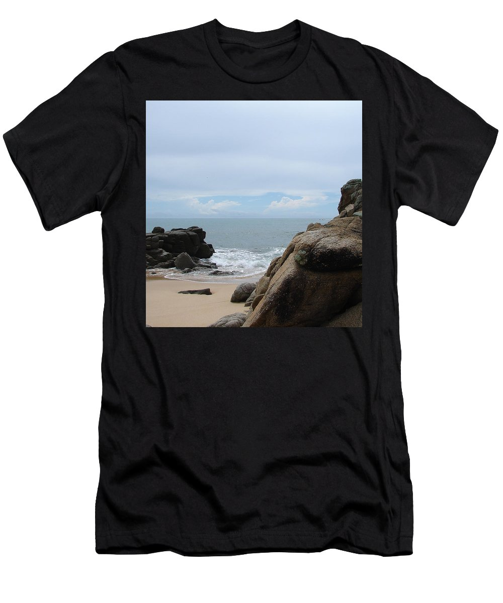 Sand Ocean Clouds Blue Sky Rocks Men's T-Shirt (Athletic Fit) featuring the photograph The Beach 2 by Luciana Seymour