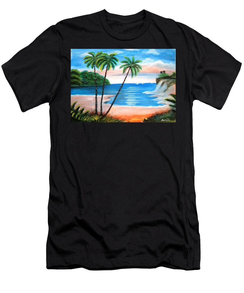 Beach T-Shirt featuring the painting The Beach colorful Landscape by Manjiri Kanvinde