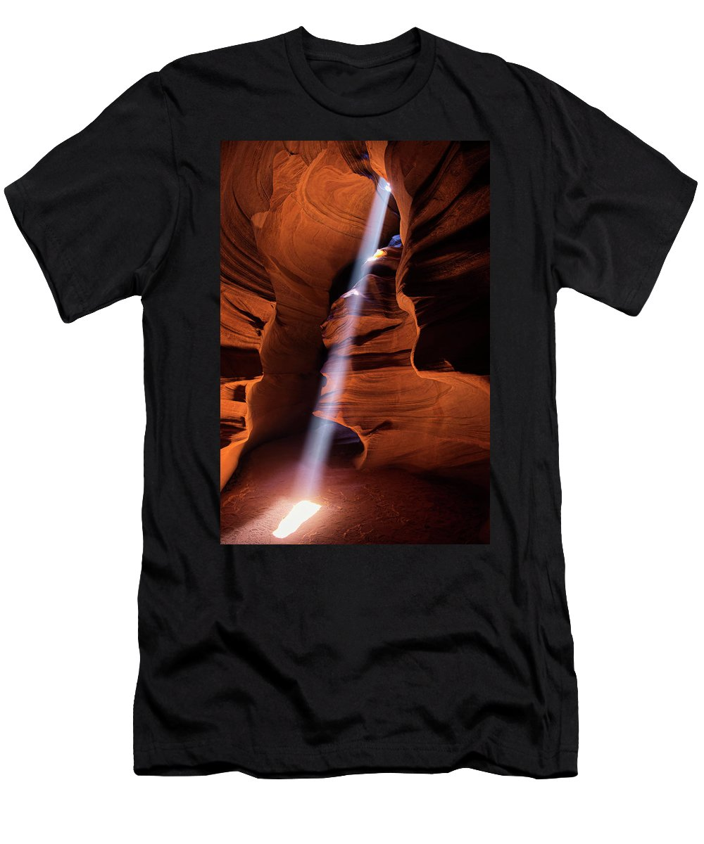 Light Beams Men's T-Shirt (Athletic Fit) featuring the photograph The Beam Of Light by Lucinda Walter