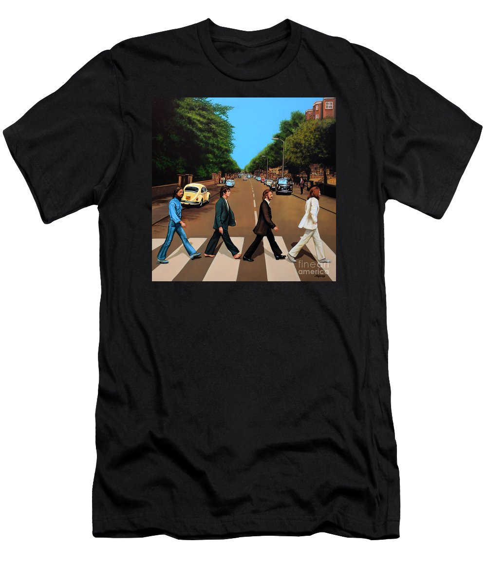 The Beatles T-Shirt featuring the painting The Beatles Abbey Road by Paul Meijering