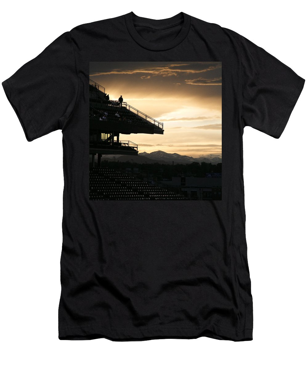 Sunset Men's T-Shirt (Athletic Fit) featuring the photograph The Beauty Of Baseball In Colorado by Marilyn Hunt