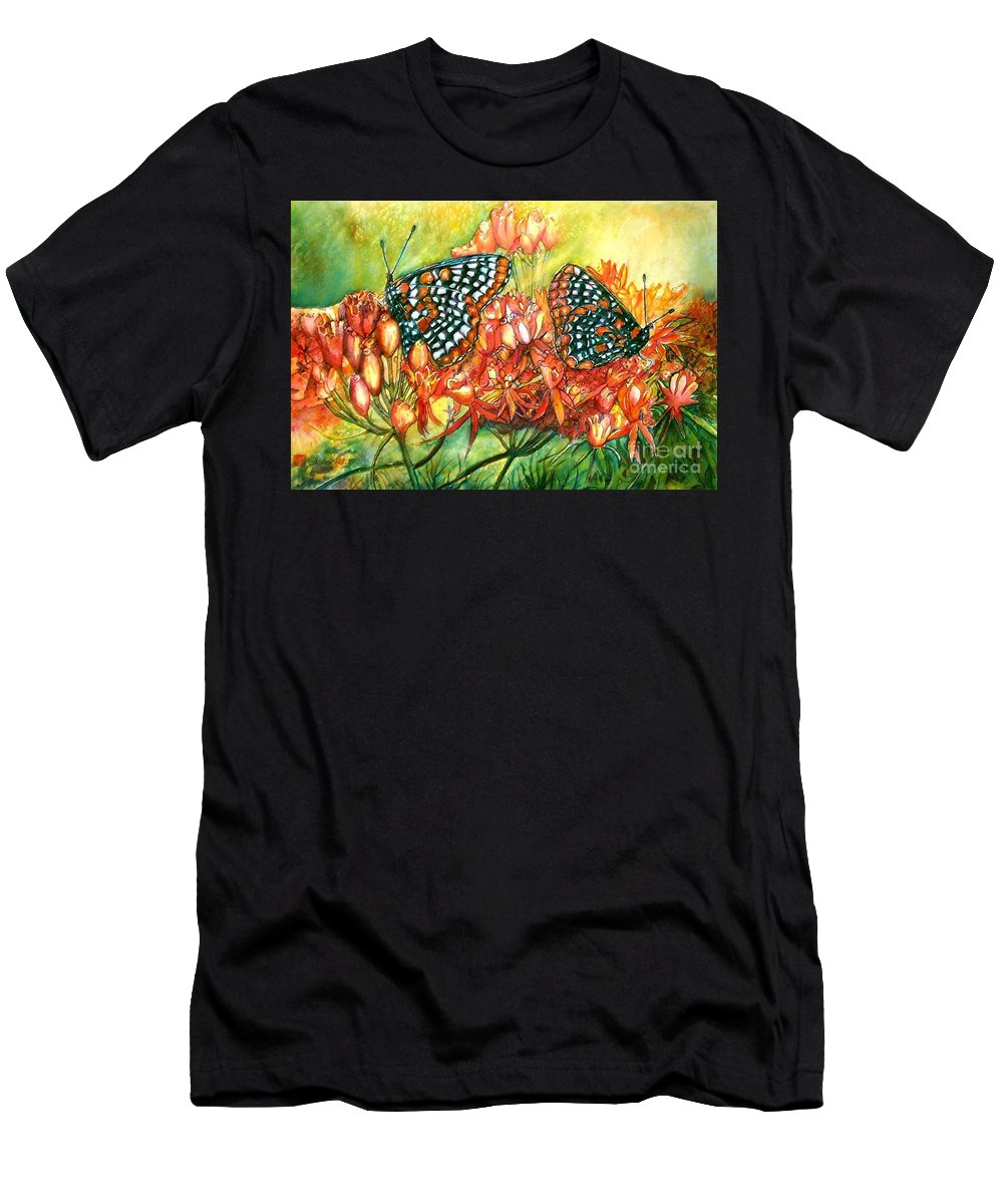 Butterflies Artwork Men's T-Shirt (Athletic Fit) featuring the painting The Beauty Of Spring by Norma Boeckler