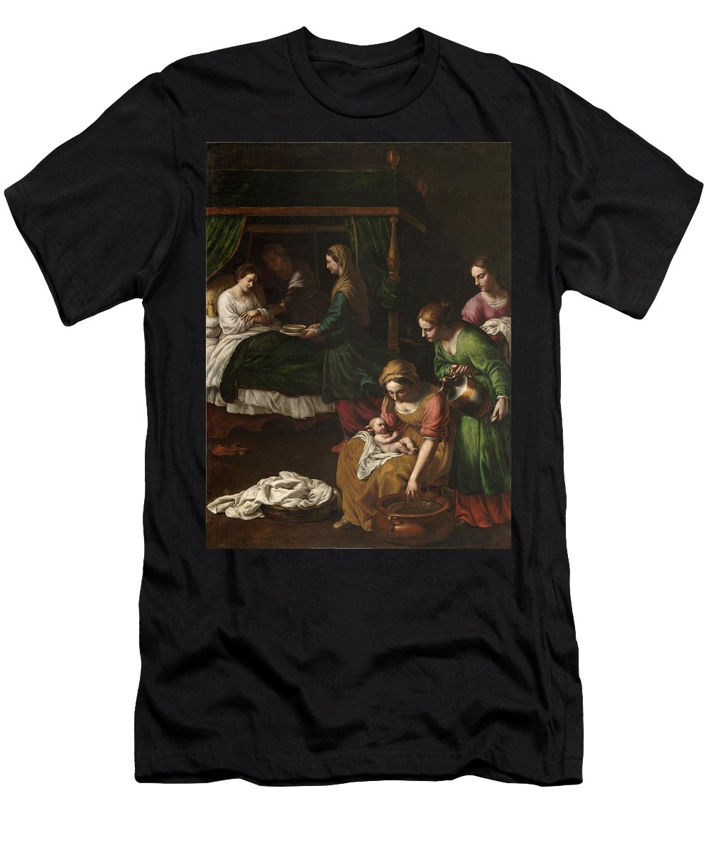 Alessandro Turchi Men's T-Shirt (Athletic Fit) featuring the painting The Birth Of The Virgin by Alessandro Turchi