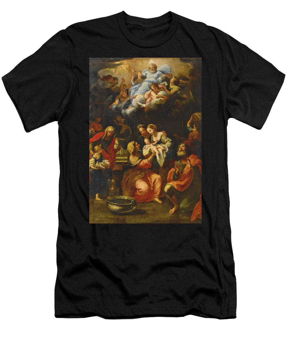 Giuseppe Bartolomeo Chiari Men's T-Shirt (Athletic Fit) featuring the painting The Birth Of The Virgin by Giuseppe Bartolomeo Chiari