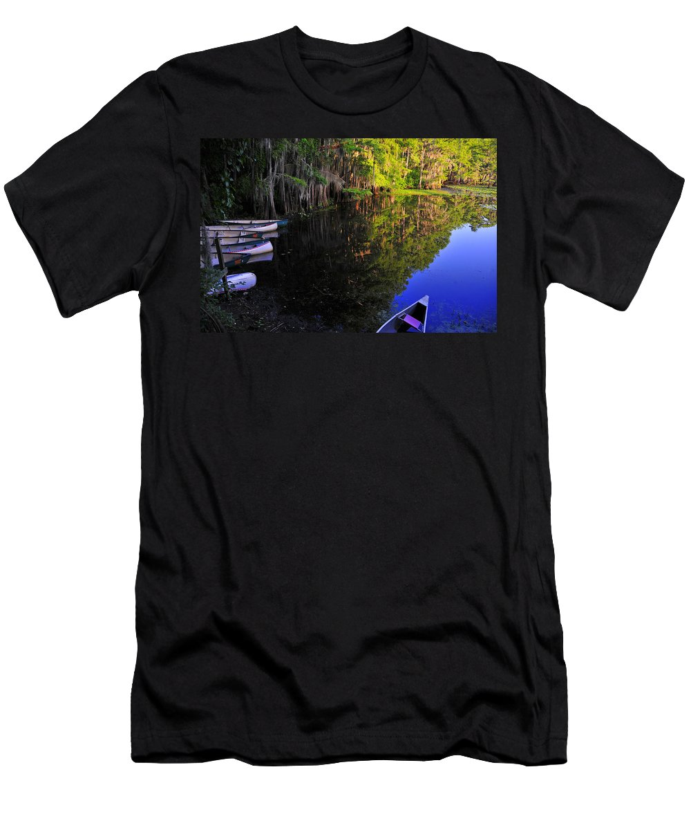 Skip Hunt Men's T-Shirt (Athletic Fit) featuring the photograph The Black Lagoon by Skip Hunt