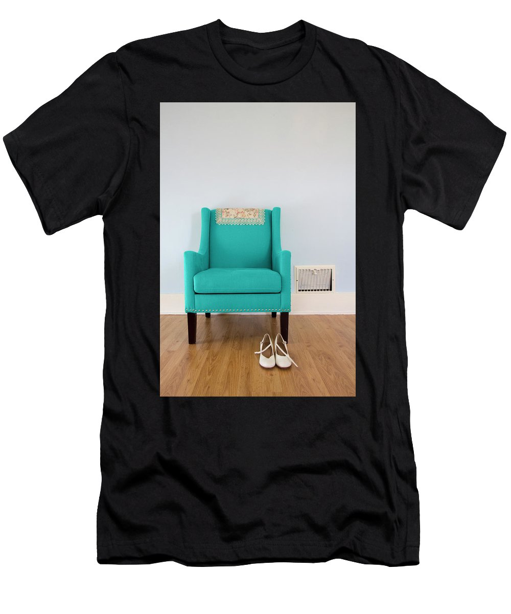Contemporary Men's T-Shirt (Athletic Fit) featuring the photograph The Blue Chair by Eleanor Caputo