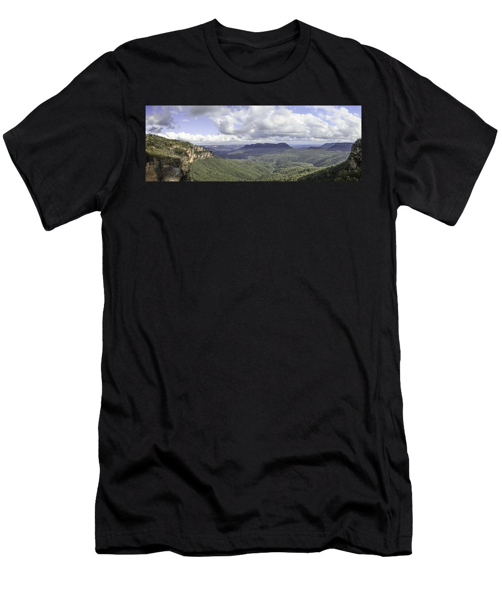 The Blue Mountains Men's T-Shirt (Athletic Fit) featuring the photograph The Blue Mountains by Chris Cousins