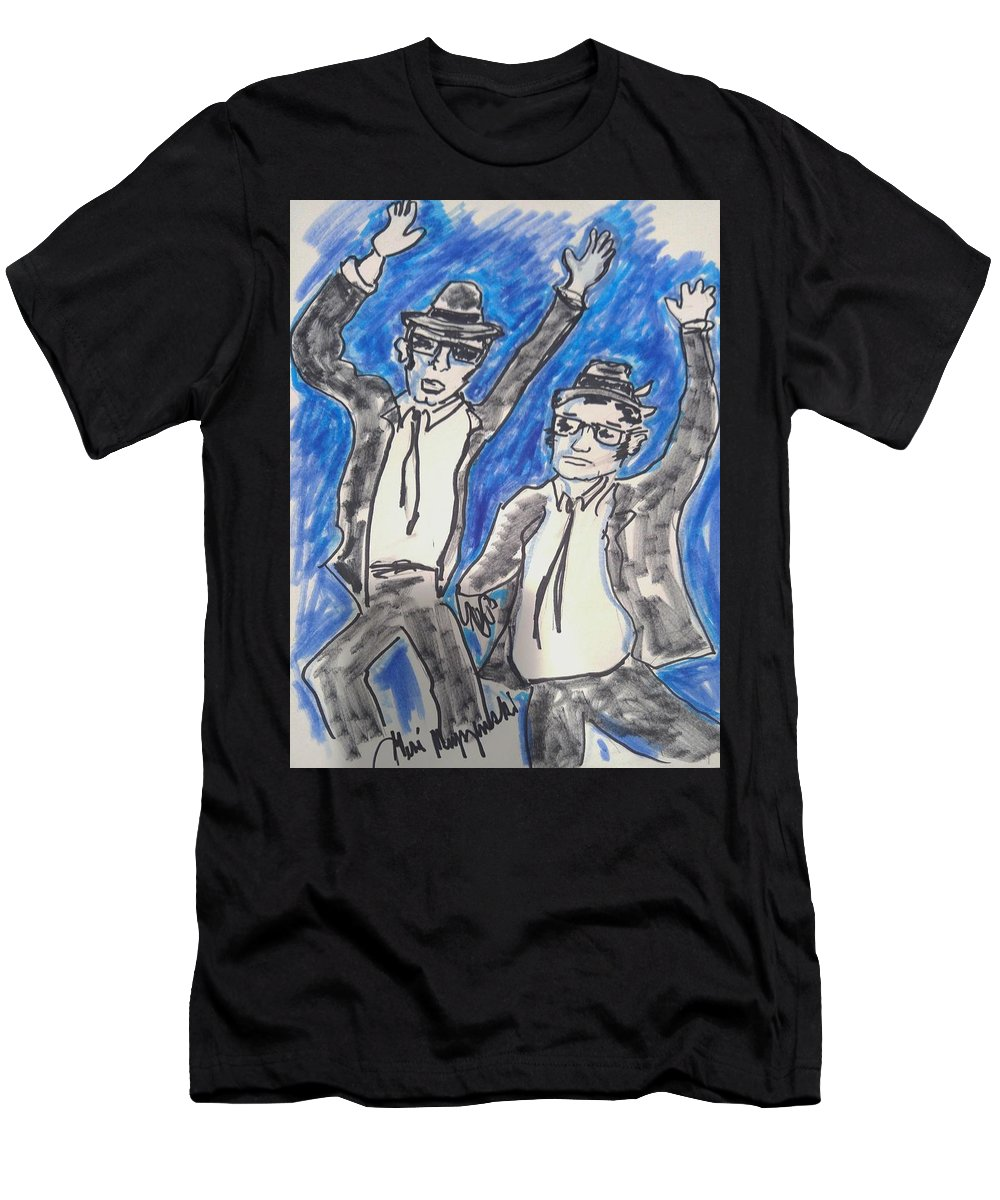 Blues Brothers Men's T-Shirt (Athletic Fit) featuring the painting The Blues Brothers by Geraldine Myszenski