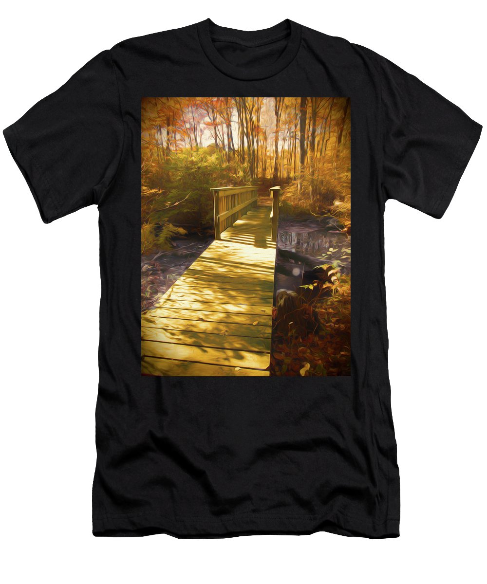 Fall Men's T-Shirt (Athletic Fit) featuring the photograph The Boardwalk And Bridge by Rusty R Smith