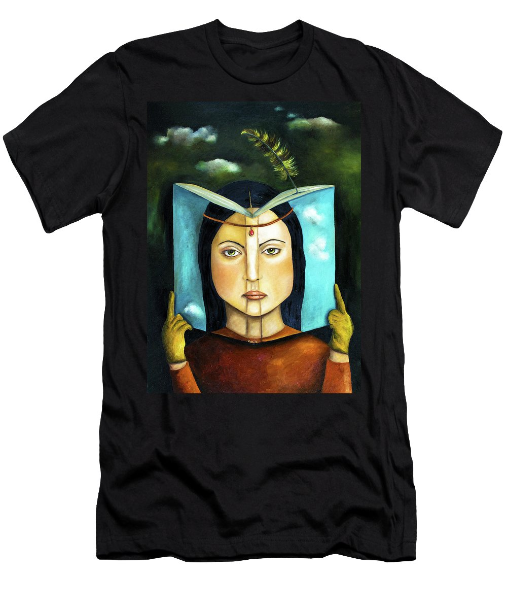 Book Men's T-Shirt (Athletic Fit) featuring the painting The Book Of Secrets by Leah Saulnier The Painting Maniac