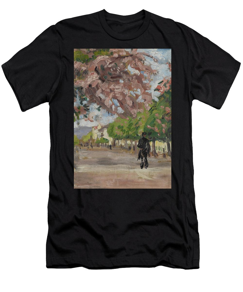 The Boulevard Men's T-Shirt (Athletic Fit) featuring the painting The Boulevard by Arthur Haythorne Studd