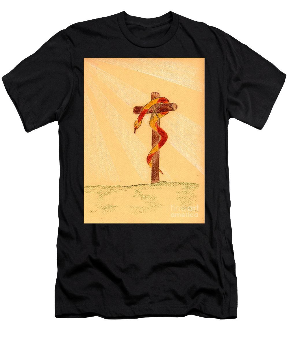 Snake Men's T-Shirt (Athletic Fit) featuring the painting The Brass Snake by Anne Gitto