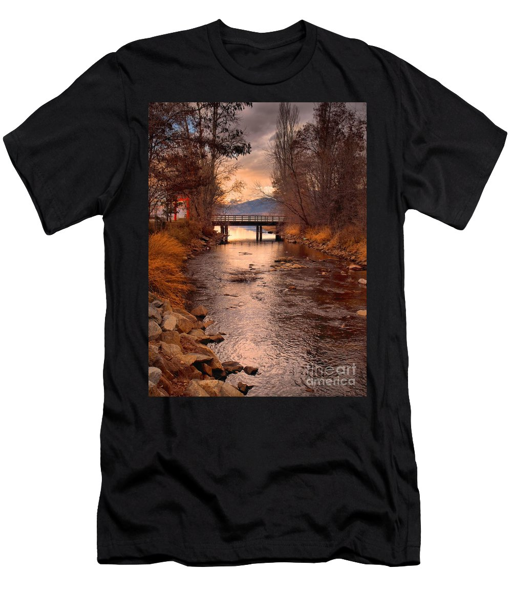 Bridge Men's T-Shirt (Athletic Fit) featuring the photograph The Bridge By The Lake by Tara Turner