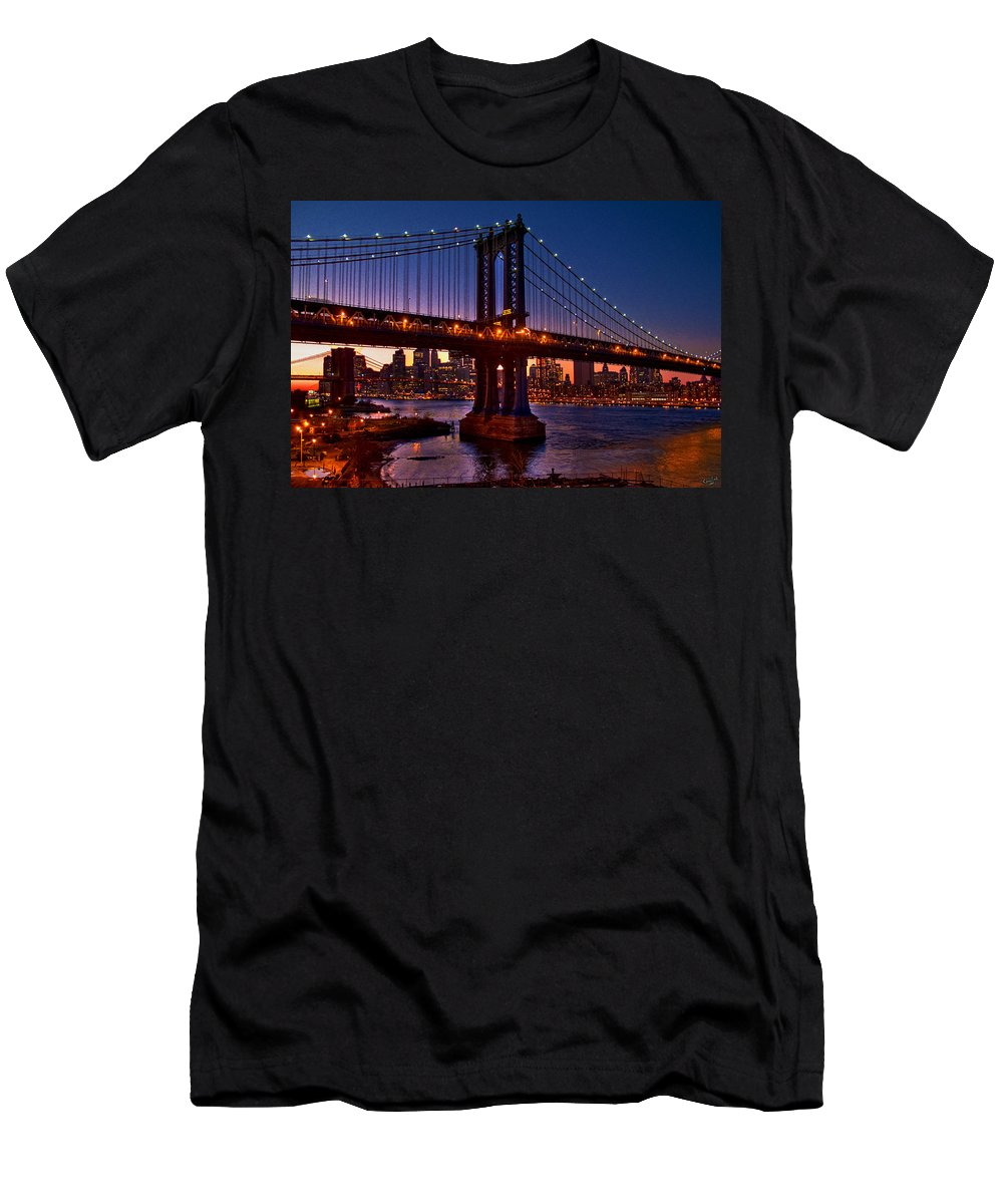 Brooklyn Men's T-Shirt (Athletic Fit) featuring the photograph The Bridges At Dusk by Chris Lord