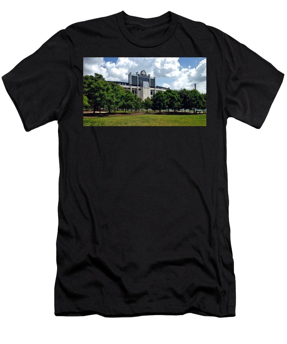 Buckeye Grove Men's T-Shirt (Athletic Fit) featuring the photograph The Buckeye Grove Around Ohio Stadium by Dan Keck