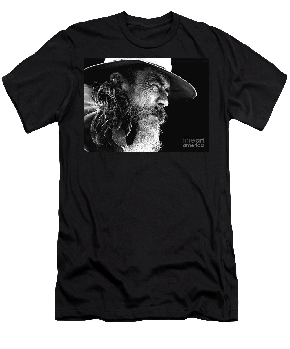 Australian Bushman Hat Men's T-Shirt (Athletic Fit) featuring the photograph The Bushman by Sheila Smart Fine Art Photography