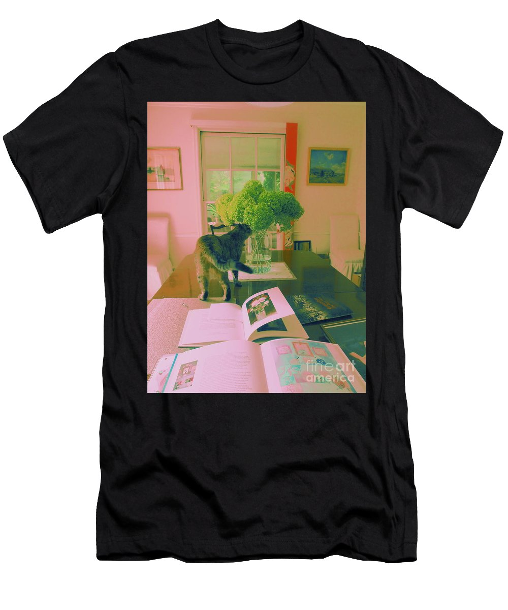 Photography Men's T-Shirt (Athletic Fit) featuring the photograph The Cat And The Hydrangea by Nancy Kane Chapman