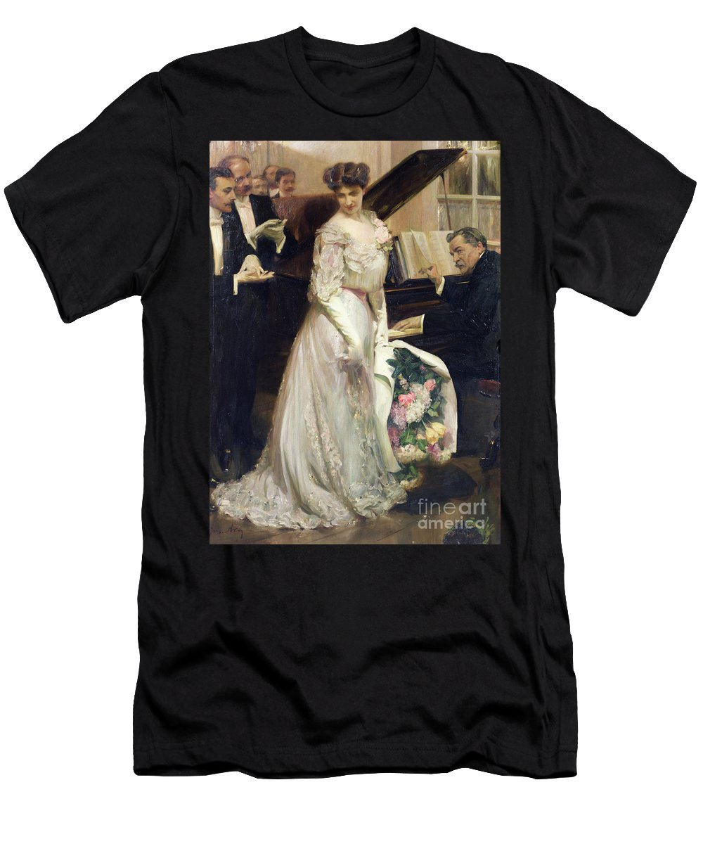 The Celebrated Men's T-Shirt (Athletic Fit) featuring the painting The Celebrated by Joseph Marius Avy
