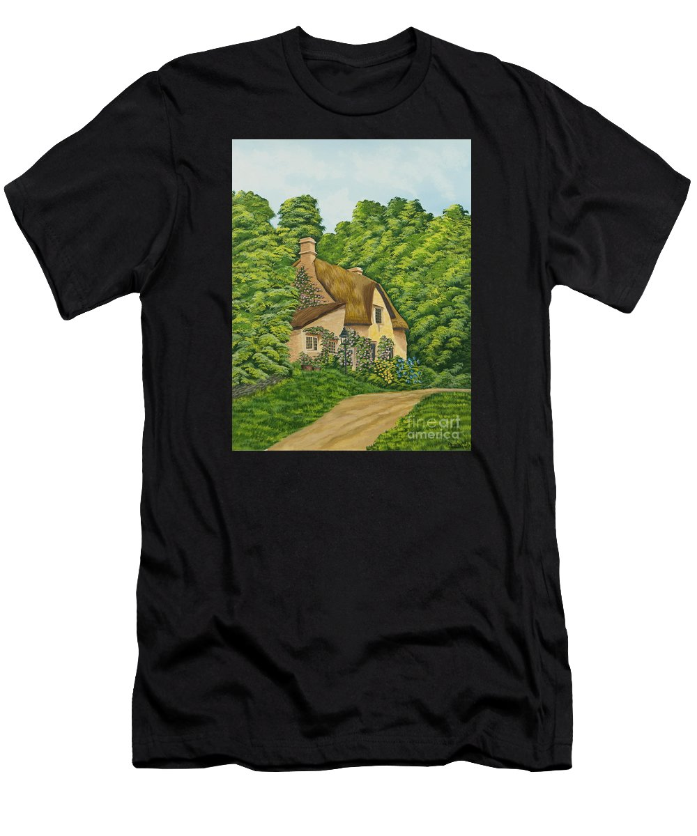 Cottage Men's T-Shirt (Athletic Fit) featuring the painting The Charm Of Wiltshire by Charlotte Blanchard