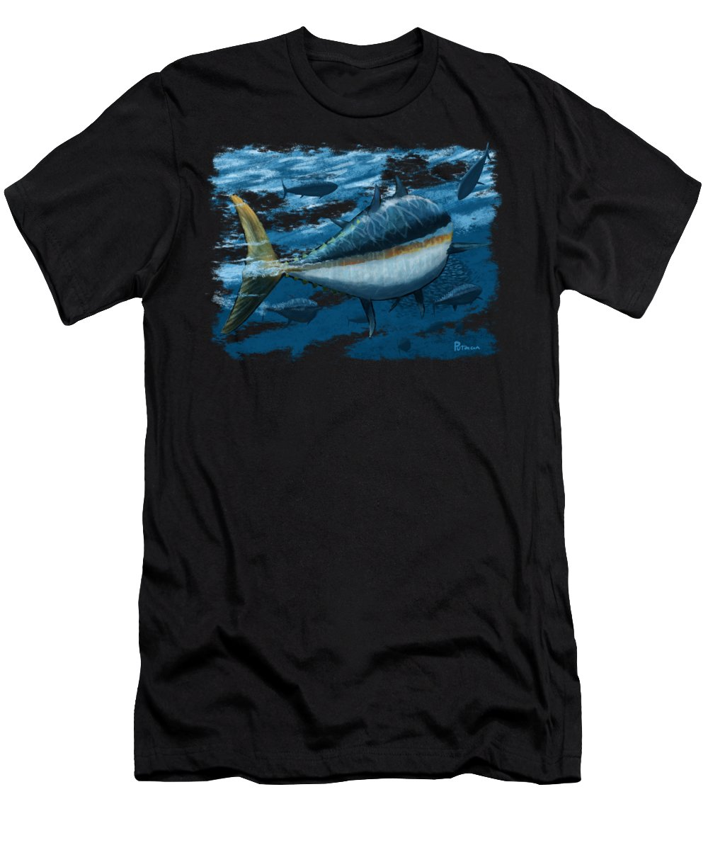 Tuna Men's T-Shirt (Athletic Fit) featuring the digital art The Chase by Kevin Putman