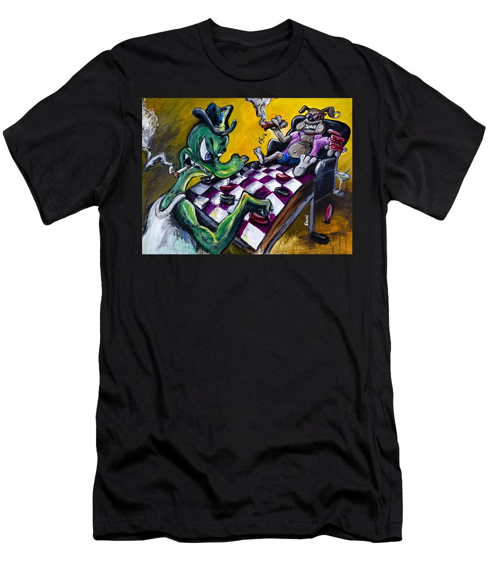 Checkers Men's T-Shirt (Athletic Fit) featuring the painting The Checker Game by Jason Gluskin