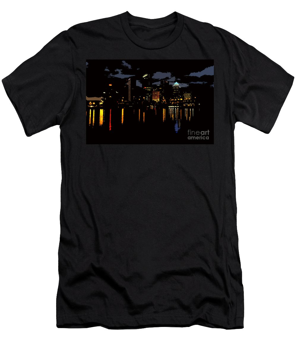Tampa Florida Men's T-Shirt (Athletic Fit) featuring the photograph The City Dark by David Lee Thompson
