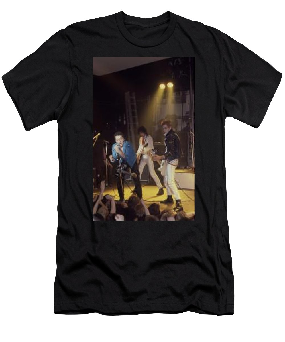The Clash-london 1978 Photo By Dawn Wirth-copyrighted Men's T-Shirt (Athletic Fit) featuring the photograph The Clash-london - July 1978 by Dawn Wirth